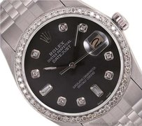 Rolex Rolex Mens Datejust Stainless Steel 36mm-Gray Diamond Dial-Diamond 18k