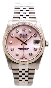 Rolex ROLEX DATEJUST STAINLESS STEEL CUSTOM DIAMOND UNISEX WATCH