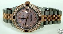 Rolex Rolex Midsize Rose Gold Steel Datejust Watch Diamonds