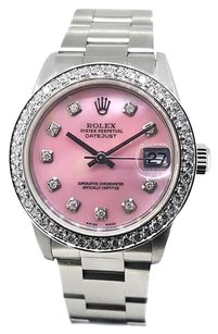 Rolex Rolex Oyster Perpetual DateJust Custom Mother of Pearl Diamond Dial 31mm Stainless Steel Watch 78240