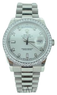 Rolex Rolex President Day-Date 18K White Gold 36MM 18239 Custom Diamond Dial