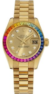 Rolex Rolex President Ladies Yellow Gold Rainbow Diamond Bezel & Diamond Dial Watch