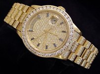 Rolex Rolex Solid 18k Yellow Gold Day-date President Blue Sapphire Pave Full Diamond
