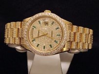 Rolex Rolex Solid 18k Yellow Gold Day-date President Green Emerald Pave Full Diamond