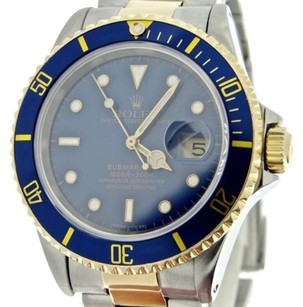 Rolex Rolex Two-tone 18k Yellow Goldstainless Steel Submariner Blue Sub Watch 16613