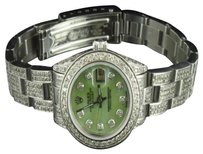 Rolex Ladies Datejust Rolex Watch Green Mop Dial Carat Stainless Steel Oyster Band