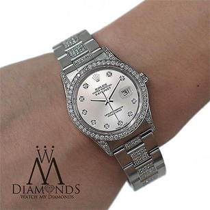 Rolex Rolex Watch- Datejust 16200 36mm - Silver Dial - Diamond Bezel Lugs Bracelet