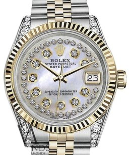 Rolex Mens Rolex 36mm Datejust Tone White Mop Mother Of Pearl String Diamond
