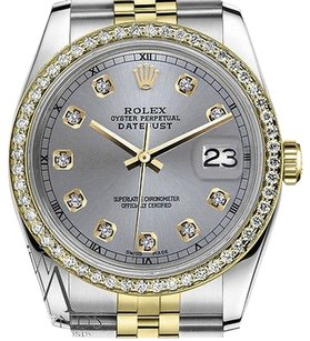 Rolex Mens Rolex 36mm Datejust Tone Grey Color Dial With Diamond Accent Rt