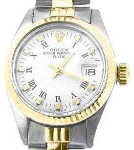 Rolex Rolex Date Lady 2tone 14k Yellow Gold Steel Watch Jubilee Band White Roman 6917