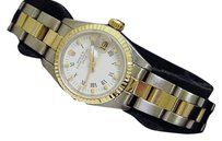 Rolex Rolex Date Lady 2tone 18k Yellow Gold Steel Watch Oyster White Roman Dial 69173