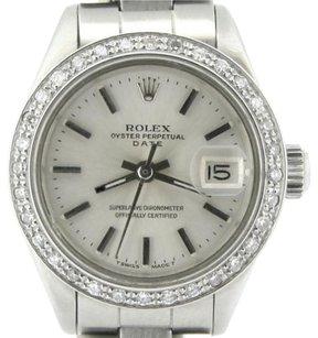 Rolex Rolex Date Ladies Stainless Steel Watch Oyster Band Silver Dial Diamond Bezel