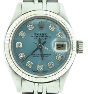 Rolex Rolex Datejust Ladies Stainless Steel18k White Gold Watch Blue Mop Diamond Dial