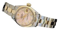 Rolex Rolex Datejust Ladies 14k Yellow Gold Steel Watch Pink Mop Diamond Dial 6917