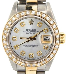 Rolex Rolex Datejust Lady 2tone 18k Gold Steel Watch W White Mop Dial Diamond Bezel