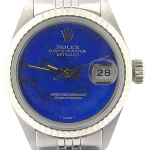Rolex Rolex Datejust Lady Stainless Steel 18k White Gold Watch Blue Lapis Dial 6917