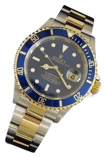 Rolex Rolex Submariner 18k Gold Stainless Steel Watch Blue Sub No Holes Sel 16613t
