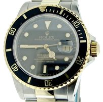 Rolex Rolex Submariner 18k Yellow Gold Stainless Steel Watch Black Date Sub 16803