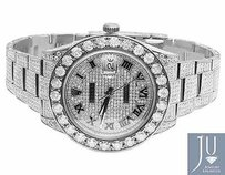 Rolex Mens Full Iced Mm 116300 Roman Dial Rolex Datejust Ii Diamond Watch 22.5 Ct