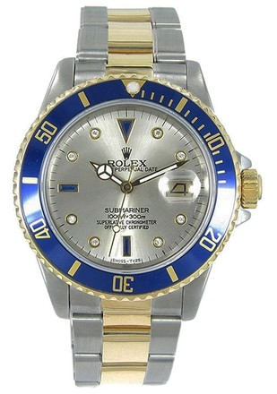 Rolex Rolex Submariner 18K Yellow Gold & Stainless Steel Custom Diamond Men's Watch