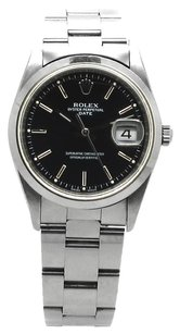 Rolex Stainless Steel Oyster Perpetual Date Black dial Watch