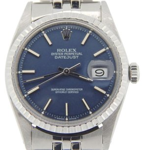 Rolex Vintage Men Rolex Stainless Steel Datejust Blue Woriginal Usa Oval Jubilee Band