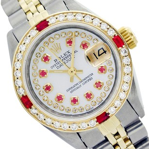 Rolex Rolex Datejust 6917 String White MOP Ruby Diamond Ladies Twotone Watch