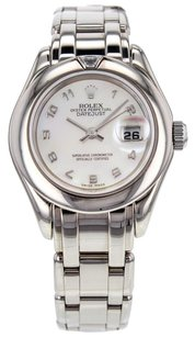 Rolex Women's Pearlmaster 69329 Watch in 18K White Gold with White Mother of Pearl RLXLPMW7
