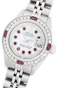 Rolex WOMENS ROLEX 26MM DATEJUST MOP RUBY & DIAMOND STAINLESS STEEL WATCH