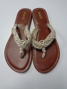 Roxy Brown Flat Beige And Tan Sandals