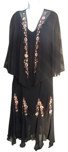 S. L. Fashions Beaded Embroidered Sheer Dress