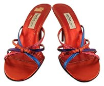 Sacha London Womens Red Blue Strappy Multi-Color Pumps