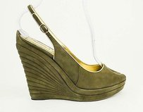 Saint Laurent Yves Ysl Dark Green, Gold Platforms