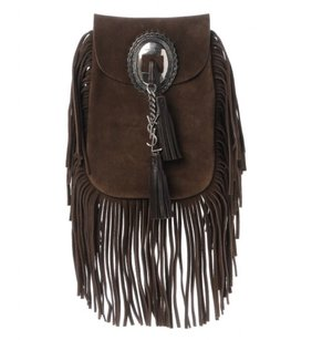Saint Laurent Yves Anita Flat Fringed Suede Dark Shoulder Purse Cross Body Bag