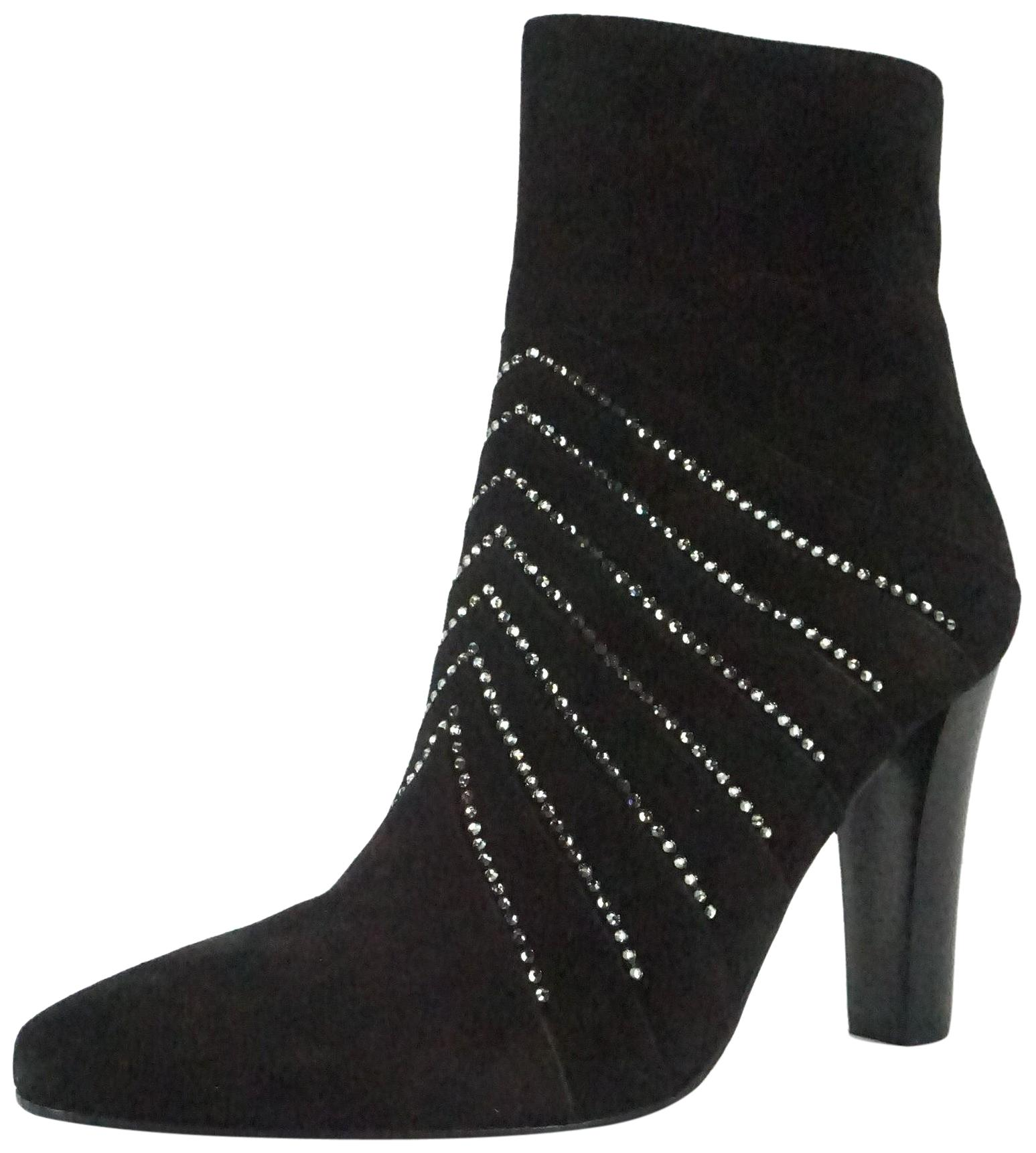 12793d75c4c ... best price saint laurent ysl yves high heels pointed toe striped black  boots 40180 1f977