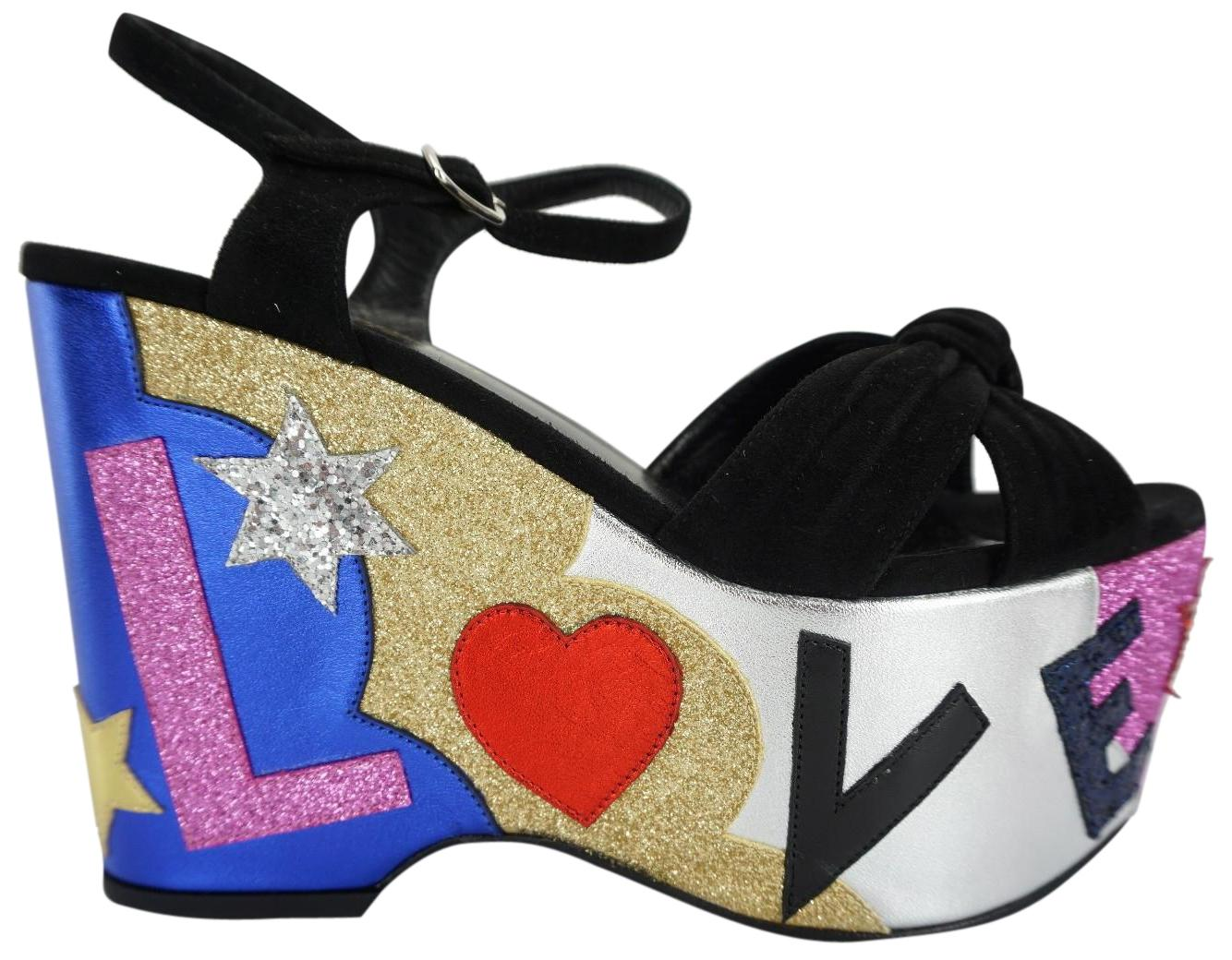 4c6447dac849 Saint Laurent Black Suede Candy Glitter Strappy Multi Love Love Love Sandals  Platforms Size EU 37 (Approx. US 7) Regular (M