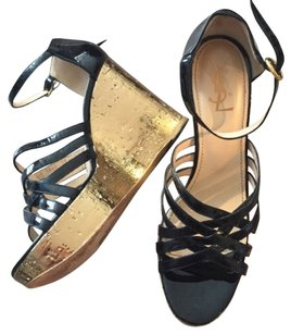 Saint Laurent Gold and Black Wedges