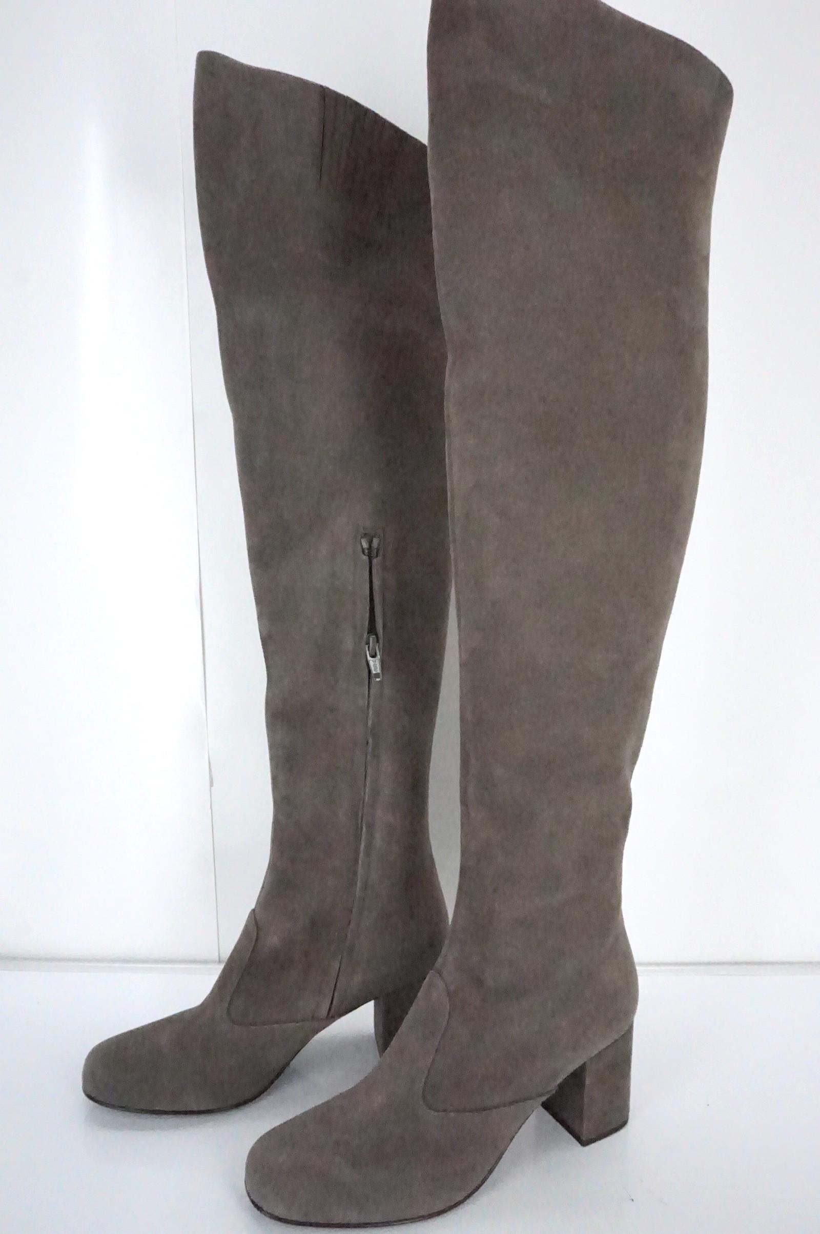9a4b7f6cfc0 ... Saint Laurent Gray Suede Babies Over The The The Knee Thigh High Boots Booties  Size