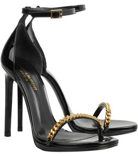 Saint Laurent Jane Chain Patent Leather Black Sandals