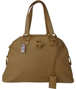 Saint Laurent Large Muse Calfskin Satchel in Beige