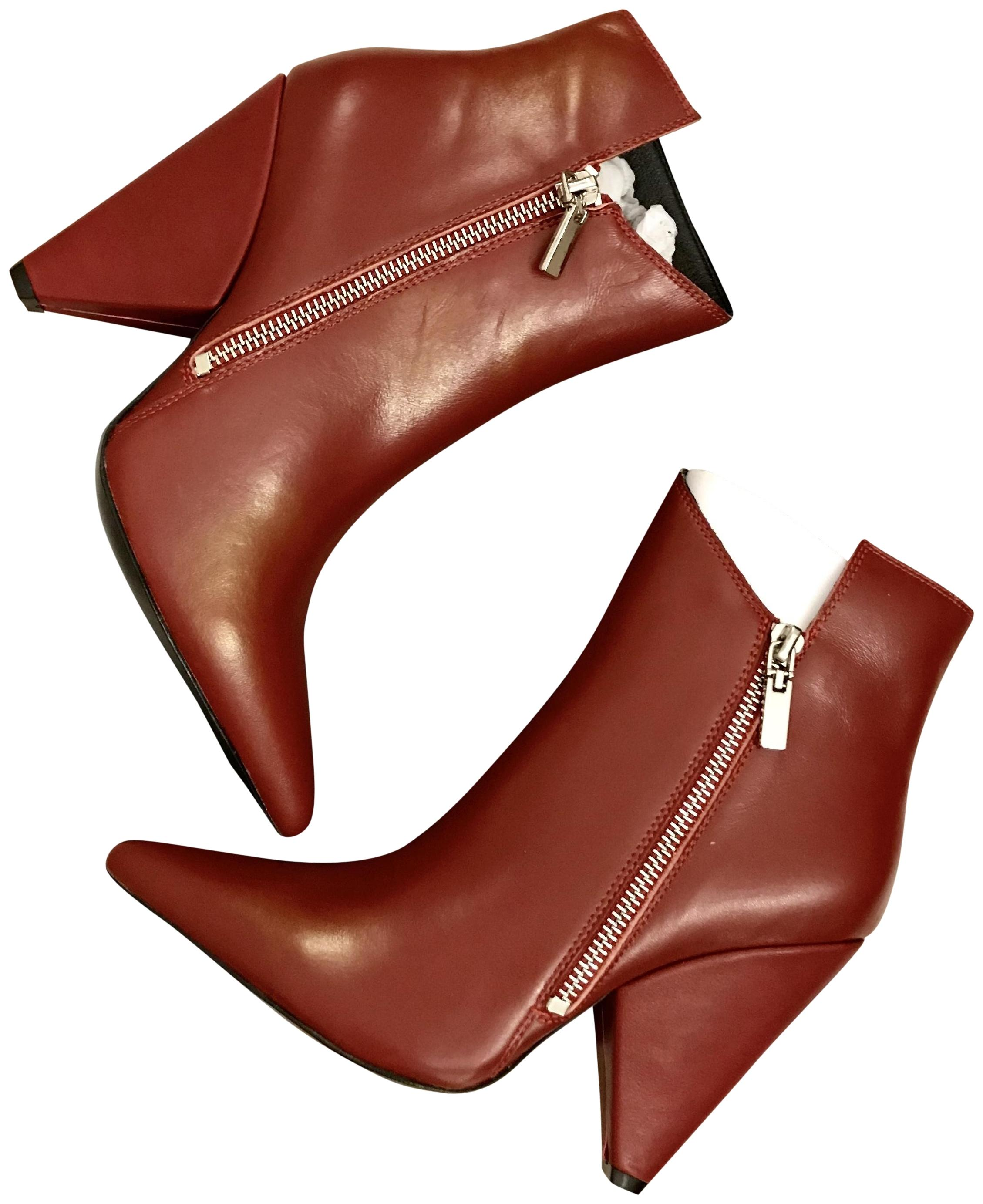 adf6840c4442 Saint Laurent Light Burgundy Burgundy Burgundy Niki 105 Asymmetrical Ankle  In Leather Boots Booties Size EU 36 (Approx. US 6) Regular (M