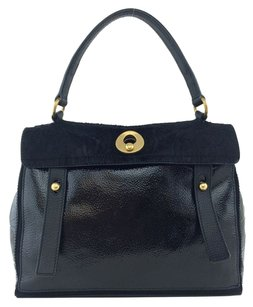 Saint Laurent Patent Leather Gold Hardware Satchel in Black
