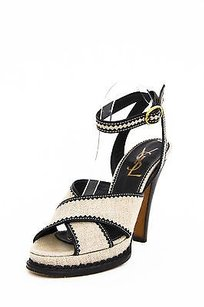 Saint Laurent Ysl Black Canvas Leather Scallop Strappy Platform High Heel Sandal 1040 Beige Pumps