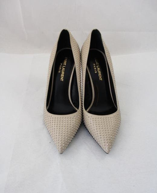 d0088112895c ... Saint Laurent Taupe Ivory Ivory Ivory Studded Pointed Pumps Size US 5  Narrow (Aa