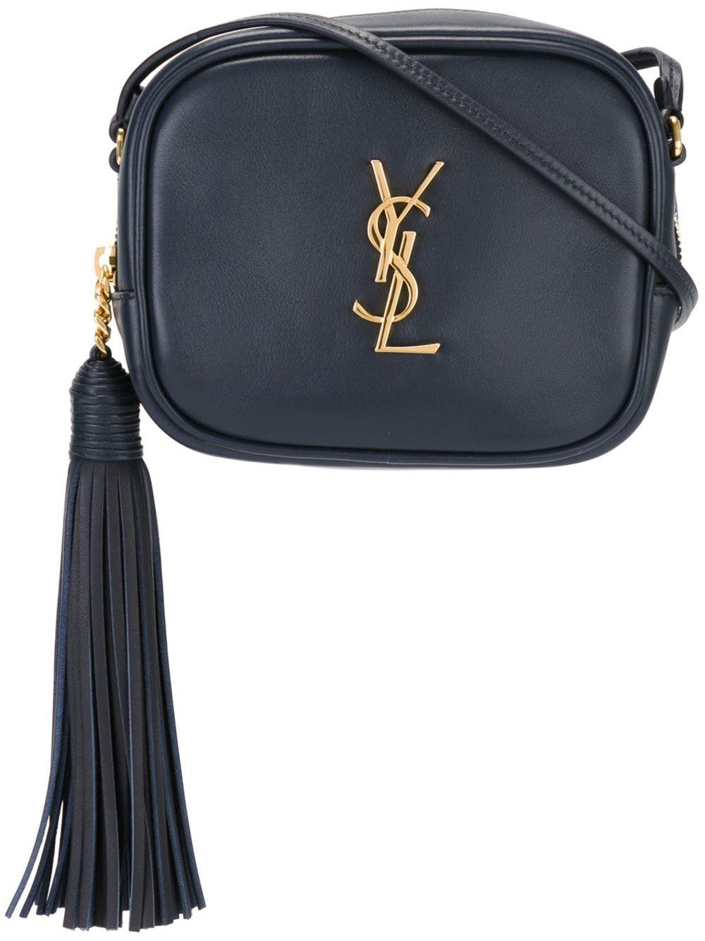 Saint Laurent New Dark Navy Blue Leather Monogram Blogger ...