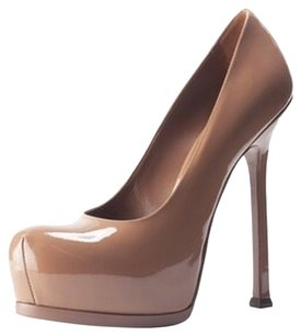Saint Laurent Ysl Tribtoo Leather NUDE Pumps