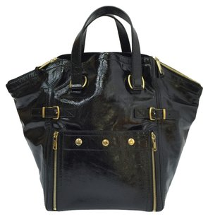 Saint Laurent Ysl Yves Patent Leather Tote in black