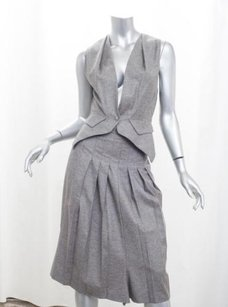Saint Laurent Yves Saint Laurent Rive Gauche Womens Gray Wool Vestskirt Suit Set
