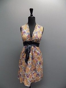 Saja Sleeveless Floral Print Lined Belted V Neck Casual Sma11653 Dress
