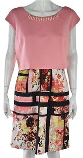 Saks Fifth Avenue Red Womens Pink Sheath Floral Knee Length Dress